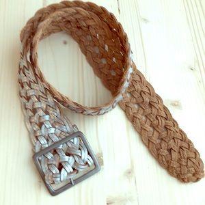 Leather braided women's belt